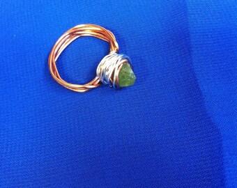 Peridot Copper Wire Ring