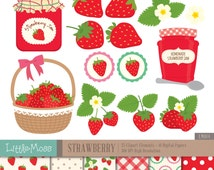 Strawberry Digital Clipart and Papers, Jam Clipart