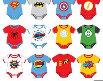 Superheroes Baby Tees Clipart, Superhero Baby Bodysuit Clipart