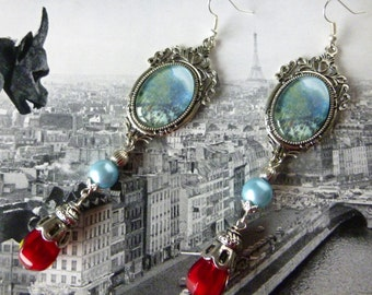 "Earrings style Belle Epoque ""Paris-Monet"" cabochon table, glass beads, silver metal"