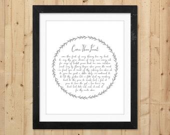 Come Thou Fount Print / Christian Printable Hymn Lyrics / Hymn Wall Art Print / Instant Download Print / Pastor Gift