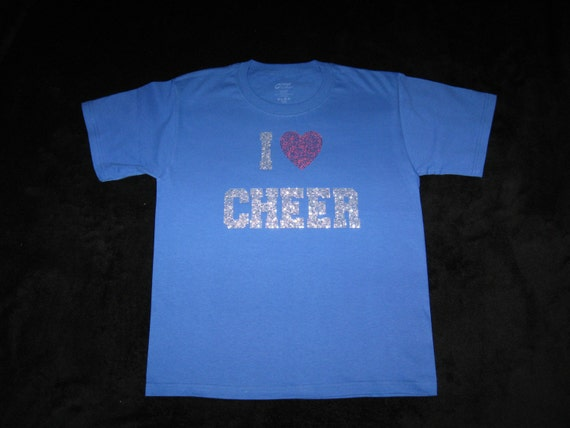 Custom Royal Blue Cheer T-Shirt - With I (heart)Cheer in Silver and Red Rhinestones