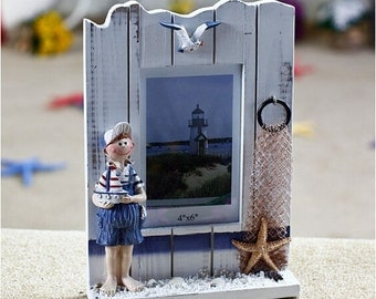 picture photo frame  4*6inches seastar handmade photo frame  they say we love sea