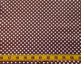 Brown Dots Cotton Fabric By The Yard, Brown Dot Quilting Cotton Fabric, Brown Dot Fabric, Brown Cotton Material White Polka dots, c1-006