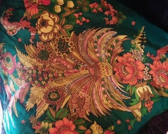 Russian Silk Scarf with Floral and Bird Print.