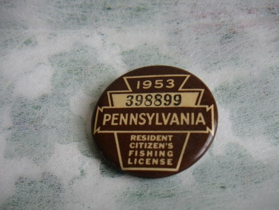 Pa pin back 1953 fishing license by bighollow on etsy for Fishing license illinois