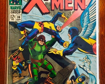 """X-Men Comic Book, Marvel Comics, Issue # 36, """"Mekano Lives"""" (Rare Comics)"""
