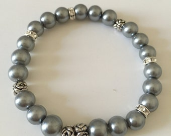 Silver Grey Glass Pearls