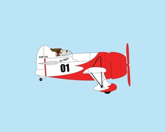 Dogs Driving Things - 'Cpt. Biggles' Art Print - Plane - Perfect for Nursery, boys room.