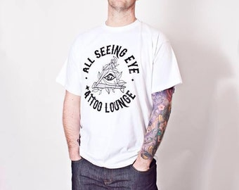 Mens T-shirt with All Seeing Eye Tattoo Lounge logo