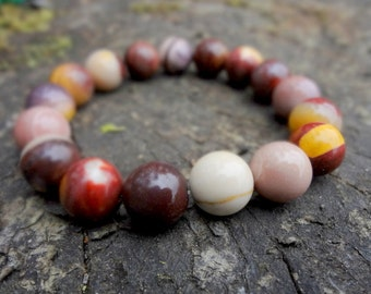 10mm Brown Mookaite Gemstone Bracelet. Chocolate Brown. Brown. Yellow. Earthy Tones by Miss Leroy