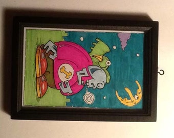 Fat Skeleton Boy At Night | 4 x 6 inch | Framed