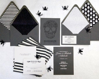 Silver Foiled Halloween Wedding Invitations