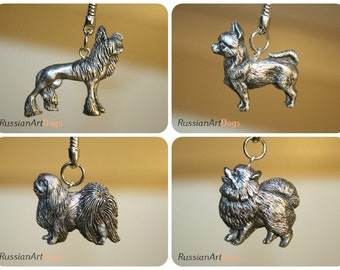 Keychain (Key ring) Chinese Crested, Pomeranian, Chihuahua, Japanese Chin, Pekingese from the alloy of tin pewter