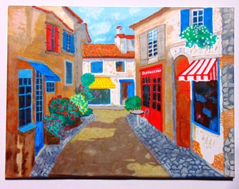 Original art acrylic painting on canvas french street restaurant houses