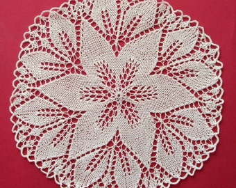 Beige Knitted Lace doilie - new,round,vintage,