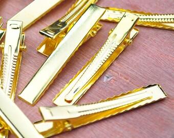 50PCS--56x8mm Gold plated flat metal hair alligator clip,Alligator Clip,Hair Clip, Hair Bow, Set of Clips, Crafting Supplies