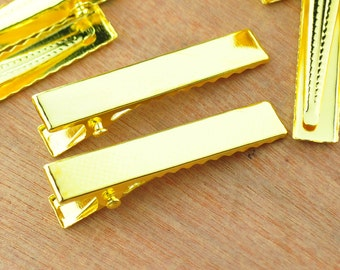 Hair clip,Gold hair clips,100PCS 41x7mm Gold flat metal hair alligator prong clip,Barrettes.