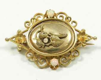 Antique 14 K Gold & Opal Brooch, c. 1880