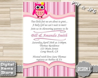 Owl Baby Shower Invitation, Baby Shower Girl, Baby Shower Invites Owl, Digital File, DIY, Custom, Printable, Green, Pink