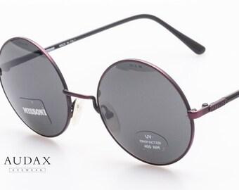 Missoni M 841/s 93m / round vintage sunglasses John Lennon style / Hippie sunglasses / purple metal frames / designer eyewear / Italy 80's