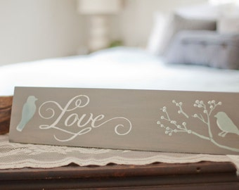 Love sign, bird decor, Blue and White bedroom decor, Gray and white bedroom wall art, Wedding gift sign, Love birds sign