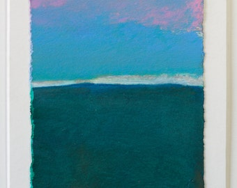 Contemporary landscape painting by Thorie Hinds, Image size 9.5X 13.5 cm, mixed media on paper. Blue casting.