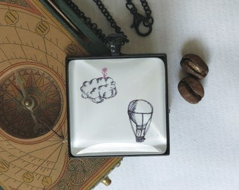 necklace ...in80Days..., handdrawn picture story toTheEndOfTheWorld, cabochon, black