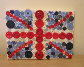 "7 x 10"" Union Jack in Buttons Canvas"