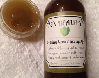 Soothing Green Tea Eye Gel- Organic, Cooling and tightening under eye gel that reduces the look of puffy, tired eyes and dark circles