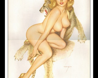 """Vargas Playboy Pinup Girl Vintage January 1966 """"Leopard"""" Sexy Blonde Nude Mature 2 Page Pinup Wall Art Deco Print"""