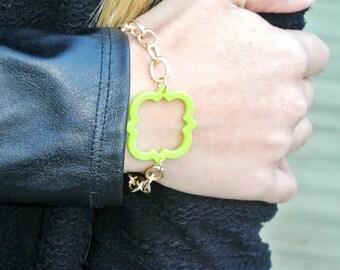 Lime Green Quatrefoil Bracelet