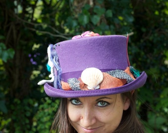 Magical Sea Sprite Nautical Delight One Of A Kind Faery Altered Wool Top Hat Size Large