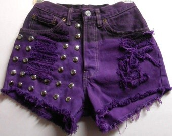 25  inch waist-----Purple studded Levis  cut off denim shorts