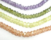 CZ beads, Cubic Zirconia Beads, Faceted Rondelle, Approx 3.5 x 4mm, 6 Inch, 1 strand, Approx 60 beads,Hole 0.8 mm, A Grade (RON0404C)