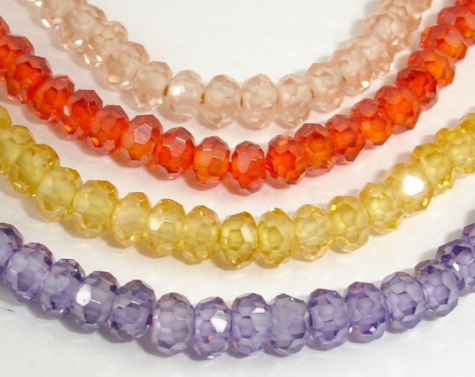 CZ beads, Cubic Zirconia Beads Faceted Rondelle 3.5x4mm - 6 Inch, 1 strand, 60 beads,Hole 0.8mm, A Grade (RON0404B)