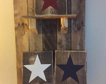 Red, white and blue, wood stars, 4th of July, Wooden Decor, country living, set of 3