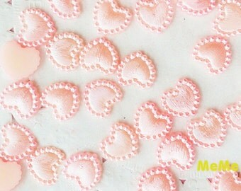40 pcs 10mm Heart Shaped Flatback Pearlized Faux Pearl  Kawaii Cabochon Deco Den on Craft Phone Case DIY Deco