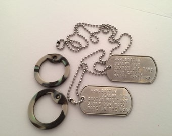 Military Style Dog Tags Custom Made To Order