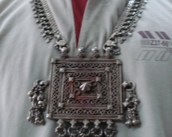 vintage antique tribal old silver necklace traditional belly dance jewelry