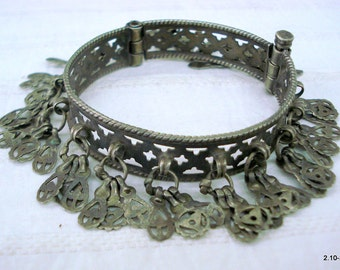 vintage antique ethnic tribal old silver charm Bracelet bangle belly dance jewelry