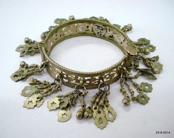 vintage Antique tribal old silver charm Bracelet bangle belly dance jewelry