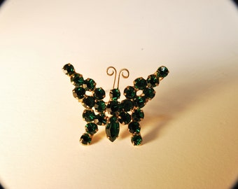 Gorgeous Dark Emerald Green Rhinestone Butterfly Pin