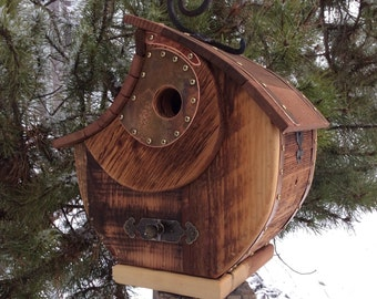 Unique Reclaimed Barnwood Birdhouse Copper Accent Wedding Birthday Gift  #0251