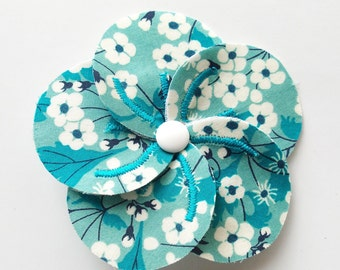 Handmade fabric flower brooch