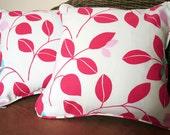 "Pair of leaf print 16"" cushion covers"
