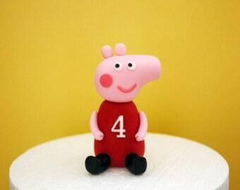 Fondant Peppa Pig Cake Topper, Handcraft fondant topper