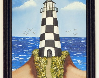Checkered Board Lighthouse Seascape painting Original oil painting on 8 x 10 canvas Beach art Seagulls Wall art Black frame