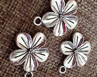 Cherry Blossom, Flower Pewter Charm Jewelry Craft DIY
