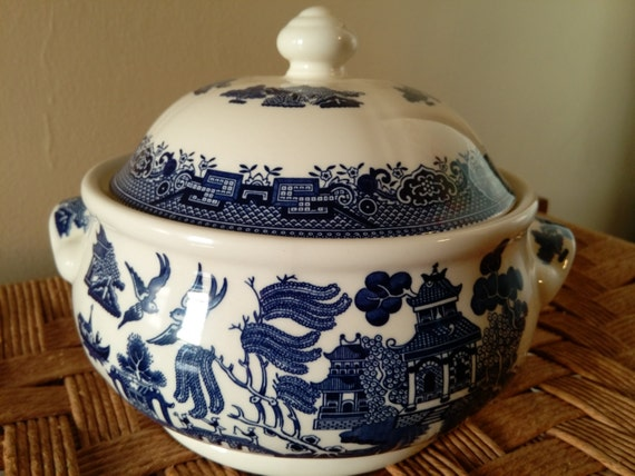 SAVE 25% WITH CODE: SAVE25 Vintage Round Covered Vegetable Dish in Willow-Blue (Georgian Shape) by Churchill China